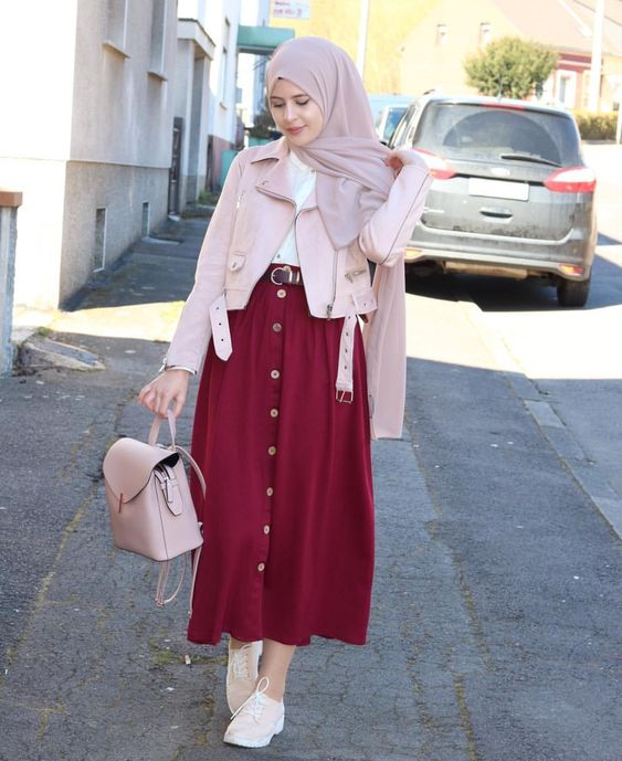 Button Skirt style for hijab