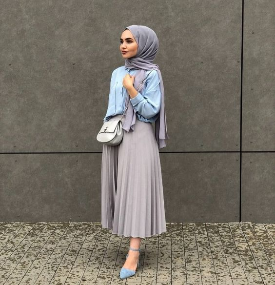 Hijab pleated skirt in pastel