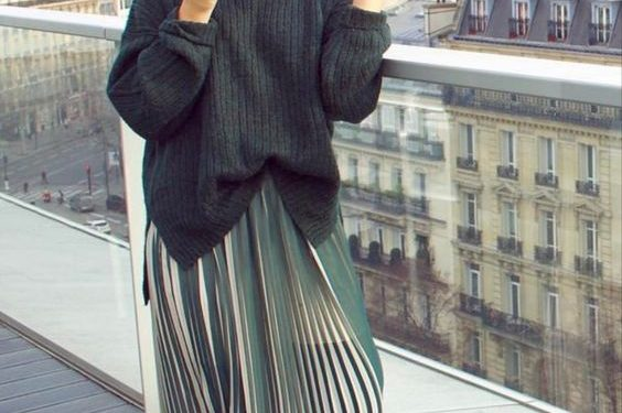 Hijab pleated skirt outfit