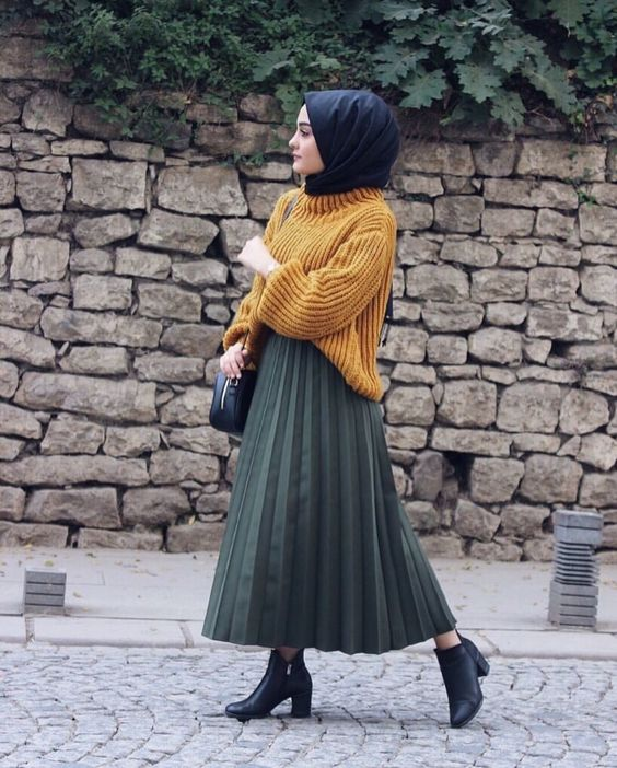 Hijab pleated skirt
