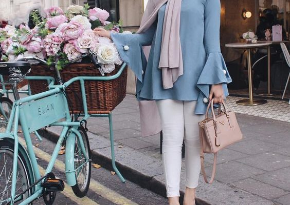 Hijab style in pastel