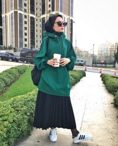 Hijab style with skirt