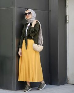 Hijab style with yellow skirt