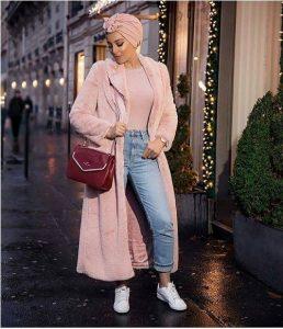 Pinky furry cute hijab outfits