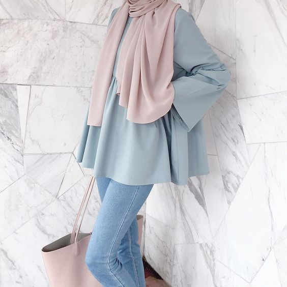 Trend Color Pastel Hijab Outfit Ideas