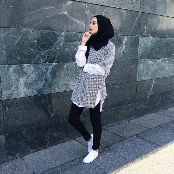 White sneakers hijab outfit
