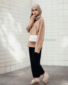 fashion hijab in nude color