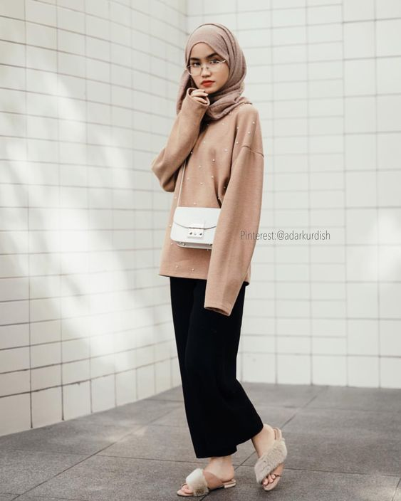 fashion hijab in nude color
