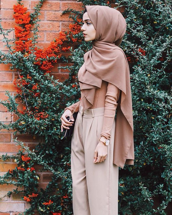 hijab fashion nude pashmina