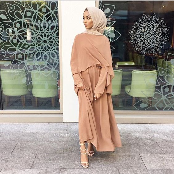 nude hijab style with dress