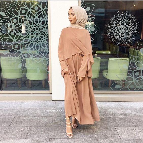 nude hijab style with dress