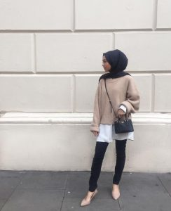 winter hijab outfit with knit sweater