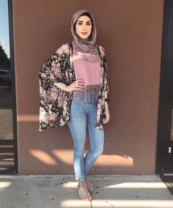 Floral Outer For Hijab Outfit