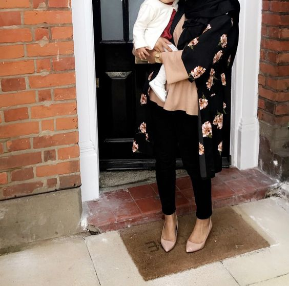 Floral kimono with matching nude flats