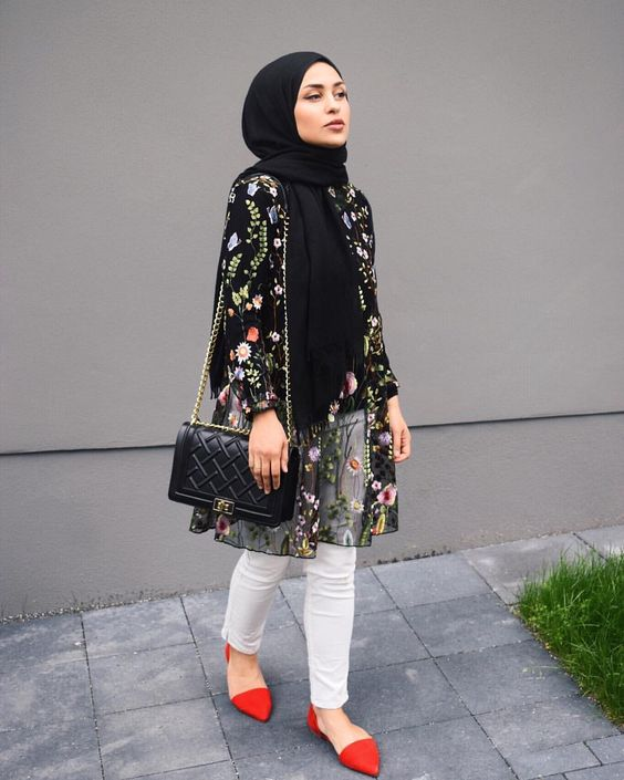 What to Wear With Floral Outer For Hijab Outfit - Hijab ...