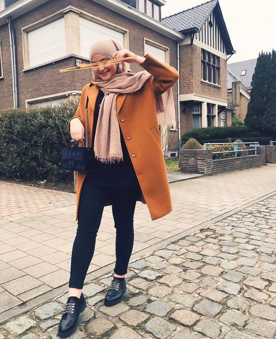 Winter Hijab Outfit With Camel Coat
