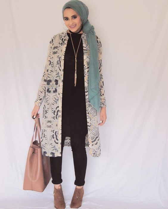 floral kimono for hijab style