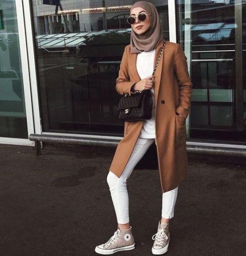 hijab style camel coat