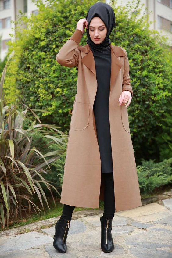 via Camel Coat Hijab Outfit
