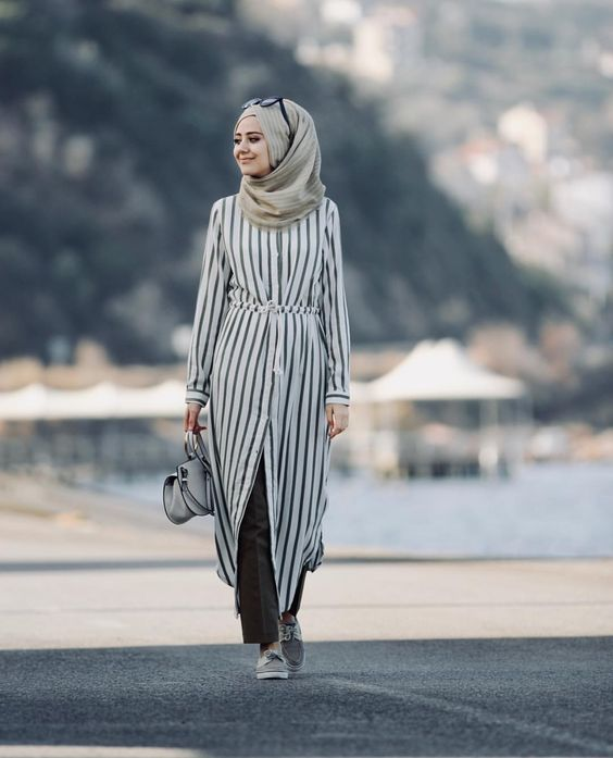 Striped Dress For Hijab Fashion