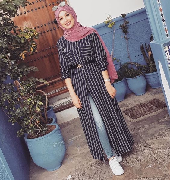 Striped Dress For Hijab outfit