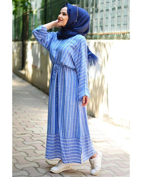 Striped Dress For Hijab style