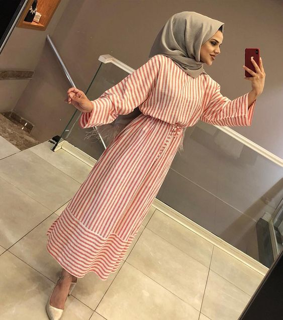 stripe dress hijab