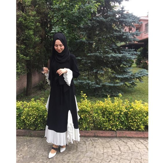 Black&White hijab outfit