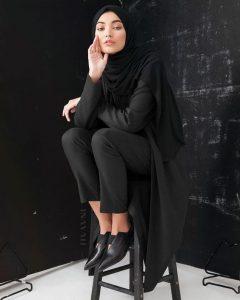 Charcoal Jersey Blazer Black Rayon Blend Jersey Hijab Black Straight Leg Trousers