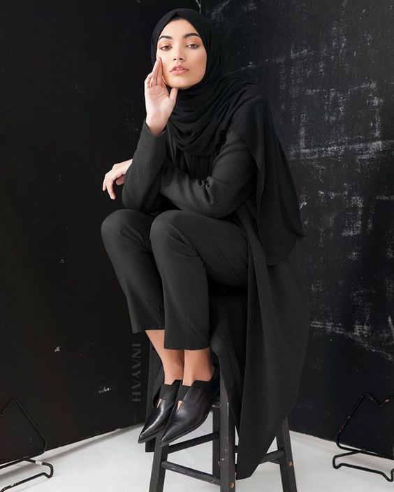 Charcoal Jersey Blazer Black Rayon Blend Jersey Hijab Black Straight Leg Trousers