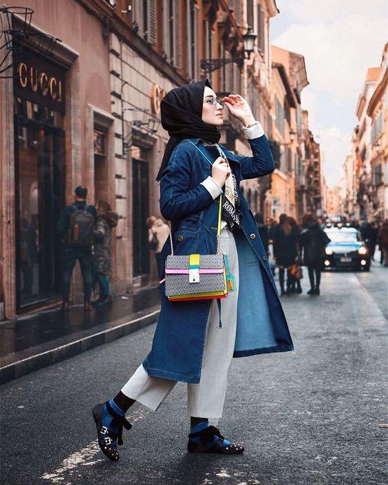 denim jacket hijab outfit