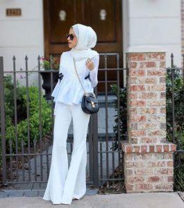 hijab style wiht white scarf