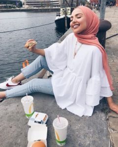 hijab style with white blouse