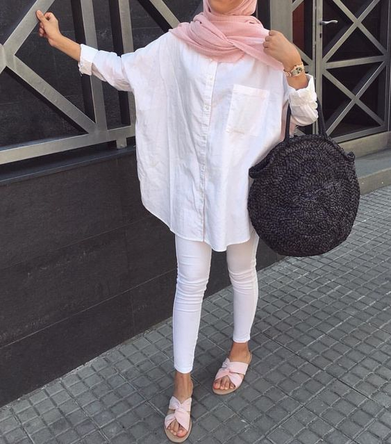 white blouse hijab outfit