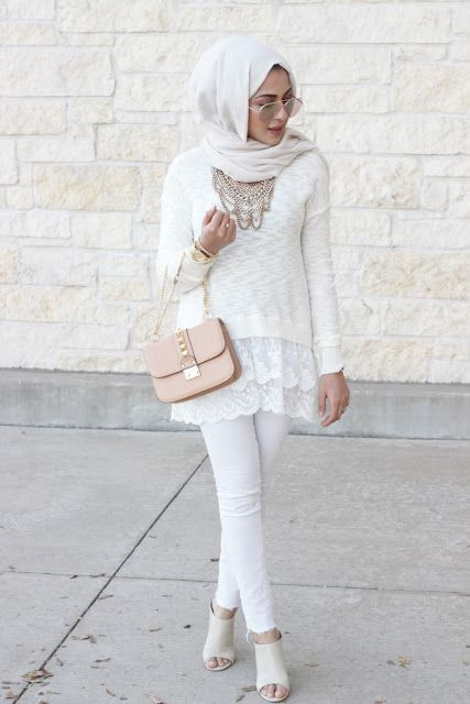 white scarf outfit