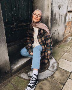 winter style hijab layering