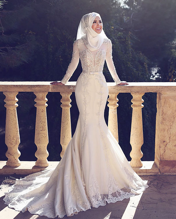 Elegant Hijab Bridal Look Ideas To Wear At Your Wedding Day