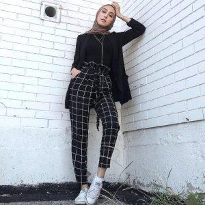Checked pants hijab style