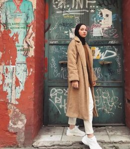 Hijab + Teddy Coat + Camel (withahsen)