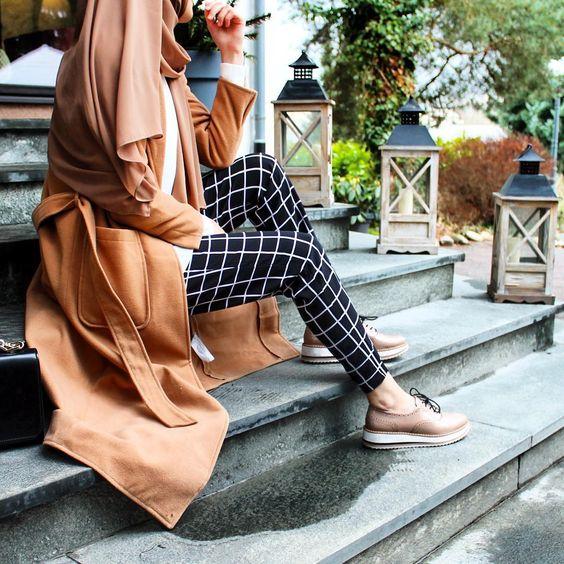 Plaid pants and camel coat