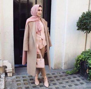 classy long coat hijab chic