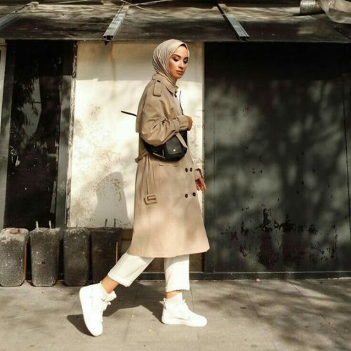 Chic Hijab Trench Coat Outfit Ideas For Spring