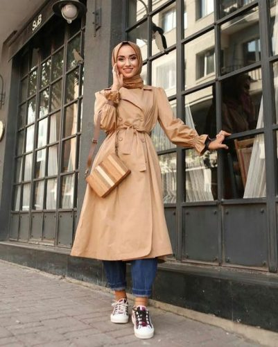 Hijab Trench Coat Outfit