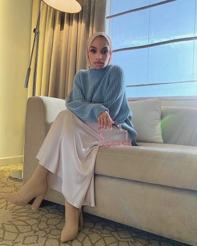 Flawless Looks Hijab Style Inspirations With Satin Skirt